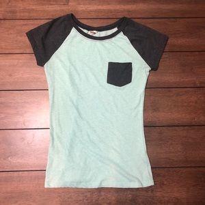 Blue and grey pocket T-shirt